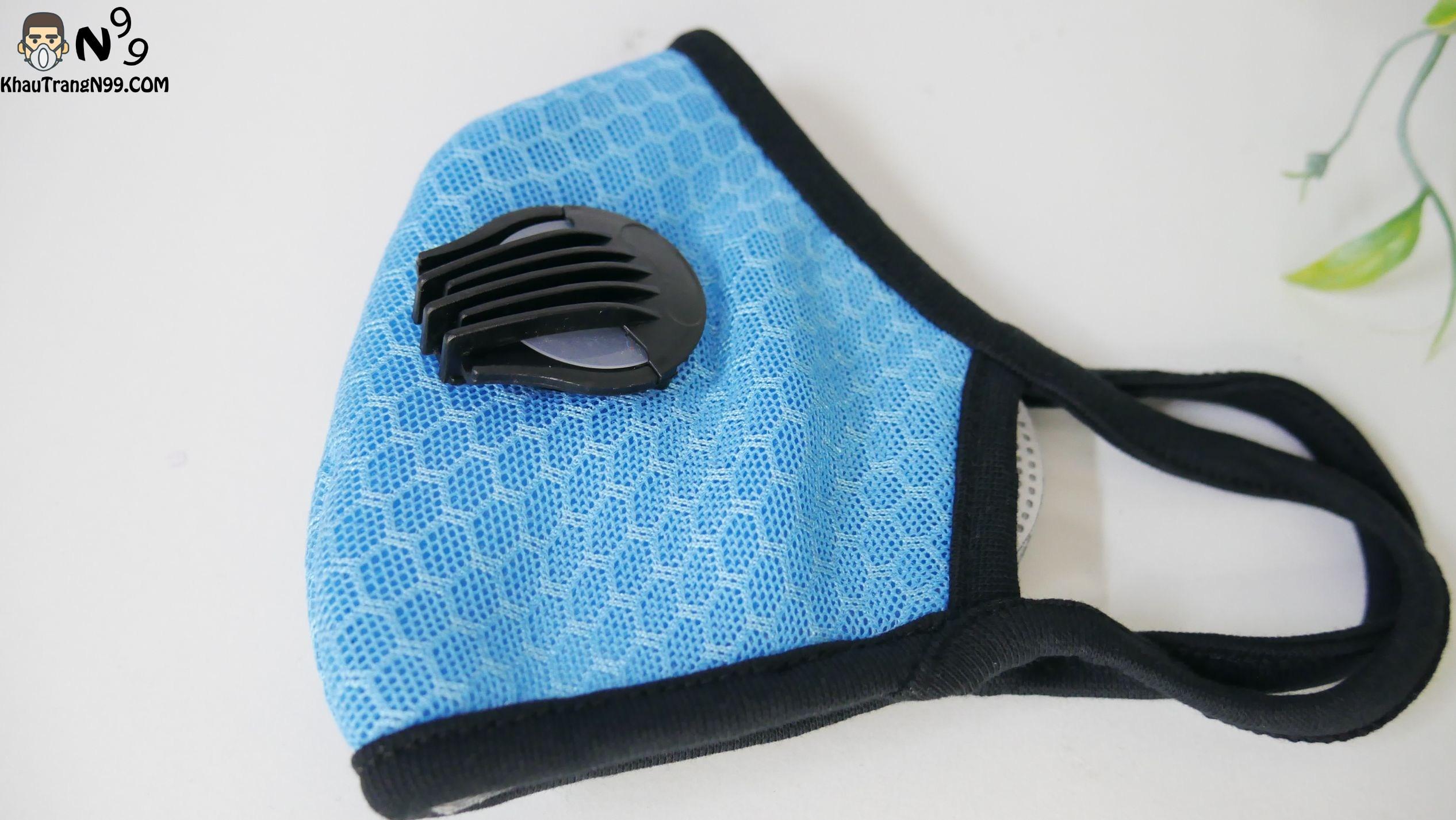 khẩu trang chống bụi cao cấp vải lưới mesh - màu xanh (2)