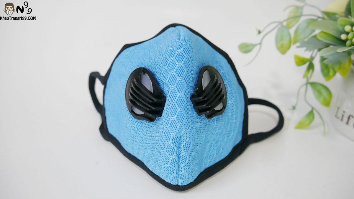 khẩu trang chống bụi cao cấp vải lưới mesh - màu xanh (3)