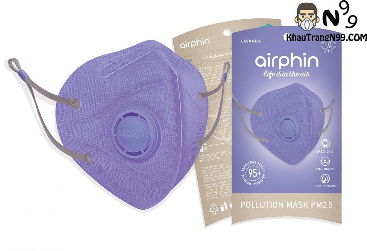 khẩu trang airphin màu tím violet 1