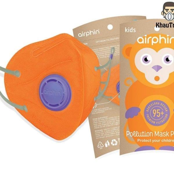khẩu trang airphine trẻ em màu cam organge