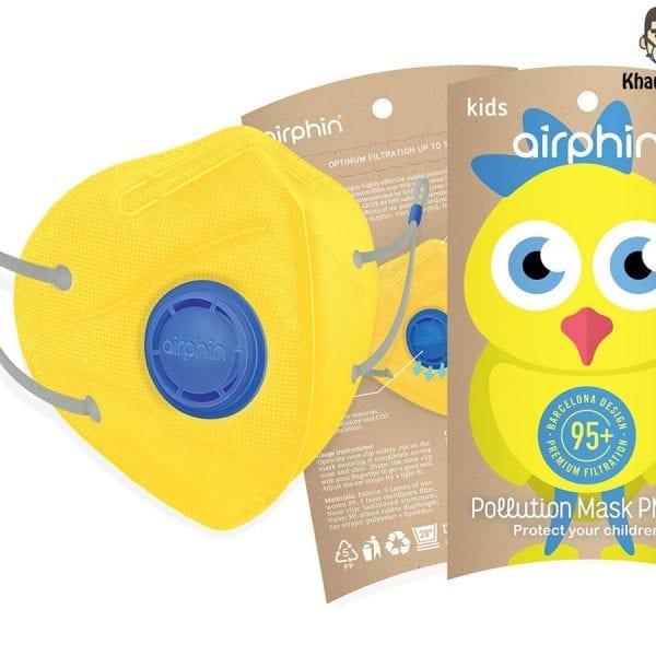 khẩu trang airphine trẻ em màu vàng yellow