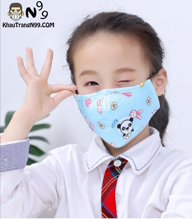 Khẩu trang dành cho bé từ 2 tuổi có van thở hình gấu