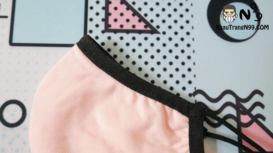khẩu trang vải kháng khuẩn chịu nhiệt 5 men - hồng 1