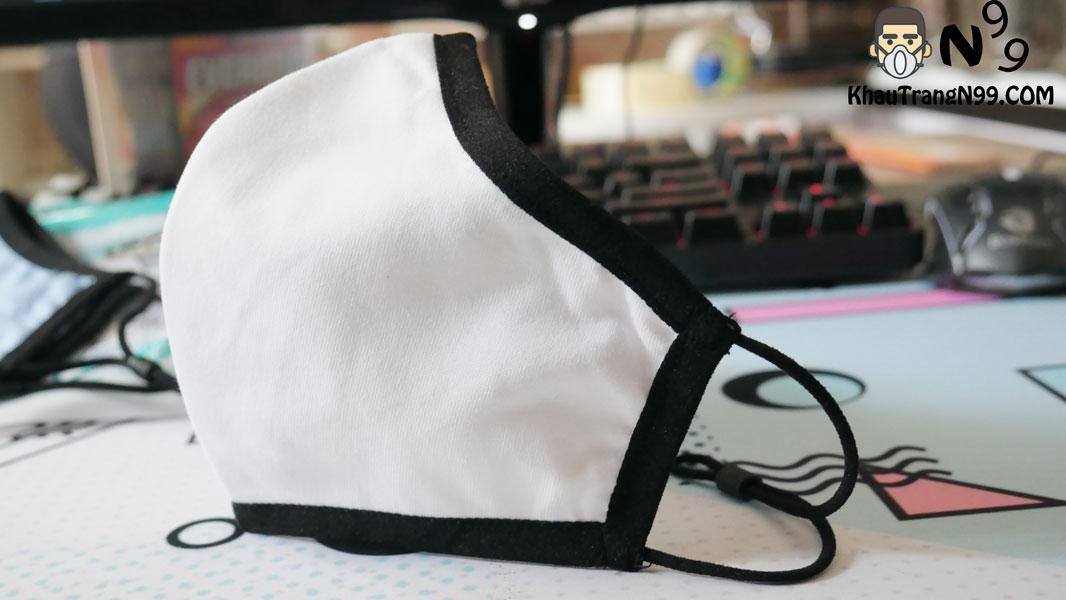 khẩu trang vải kháng khuẩn chịu nhiệt 5 men - trắng 3