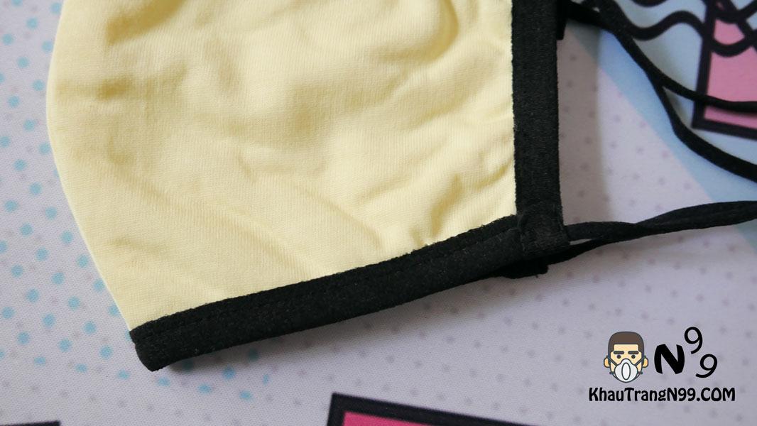 khẩu trang vải kháng khuẩn chịu nhiệt 5 men - vàng 2