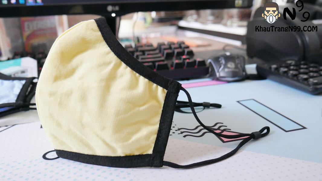 khẩu trang vải kháng khuẩn chịu nhiệt 5 men - vàng 4