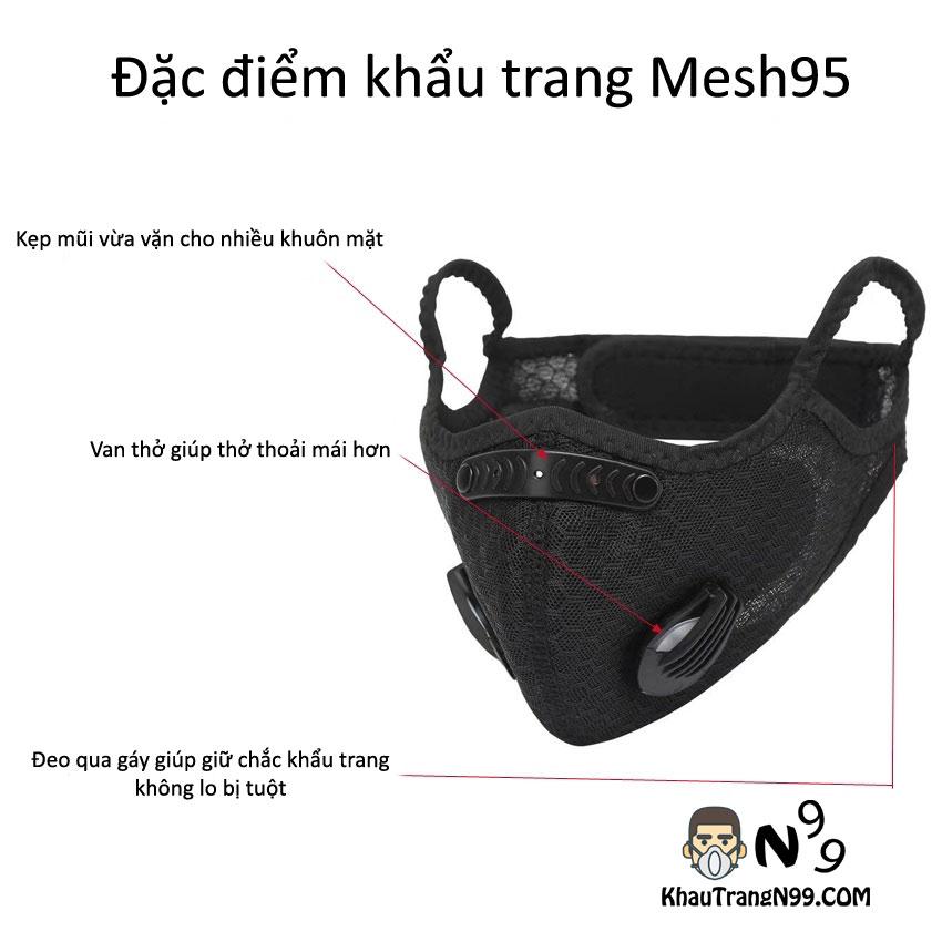 Cấu tạo khẩu trang lọc bụi mịn pm2.5 mesh95