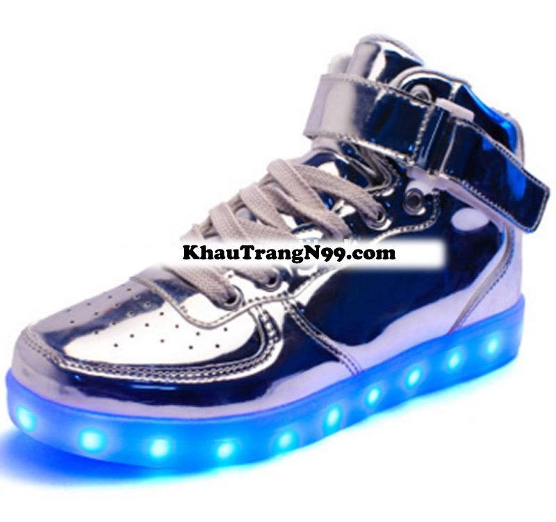 giày phát sáng neon đèn led màu bạc
