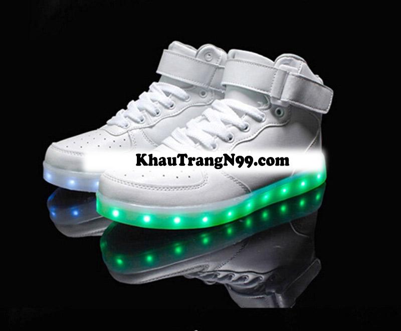 giày phát sáng neon đèn led màu đen màu trắng ban đêm