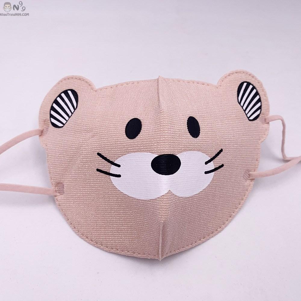 khẩu trang cho bé trên 2 tuổi vải cực xịn, thoáng tai chuột 3d (1)