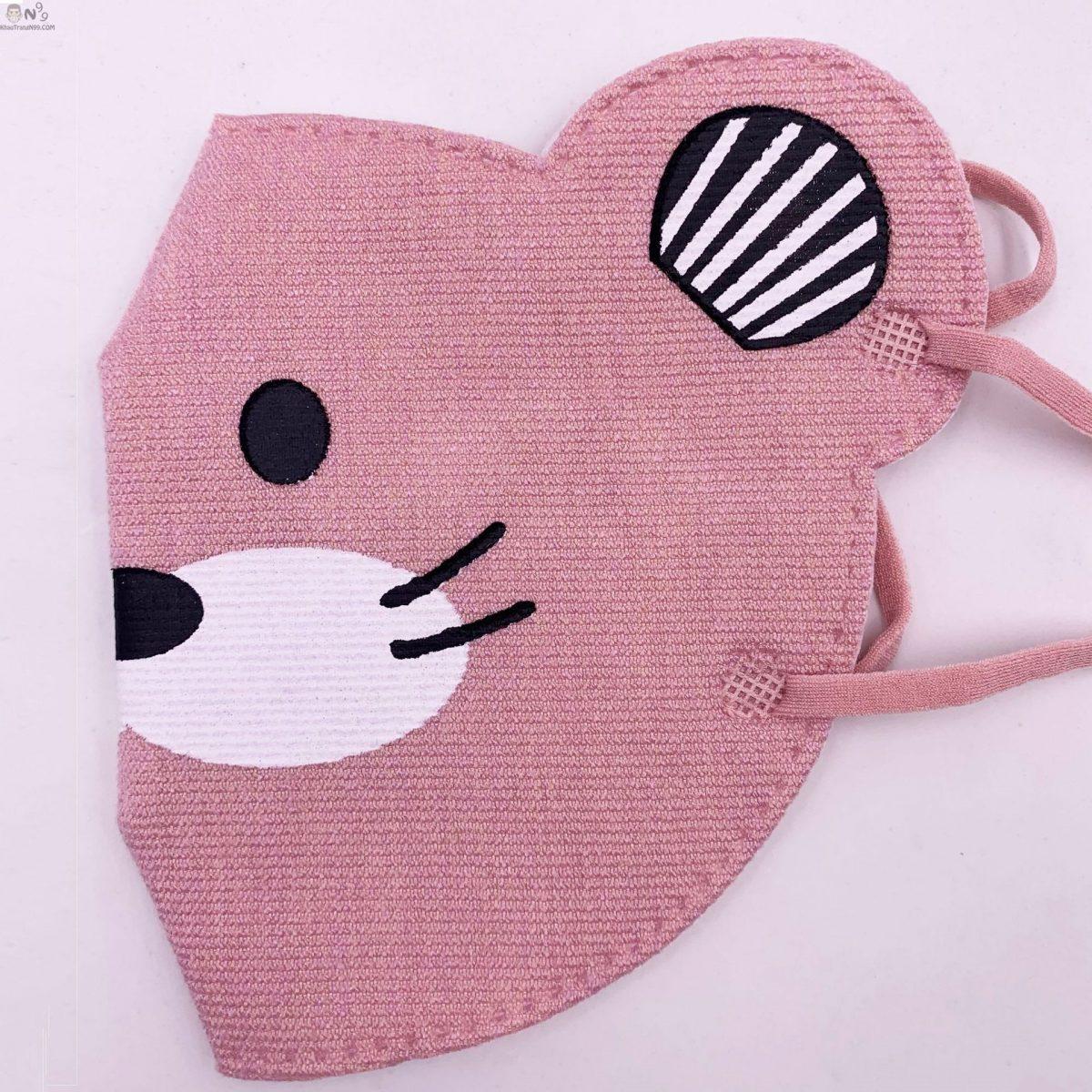 khẩu trang cho bé trên 2 tuổi vải cực xịn, thoáng tai chuột 3d (3)