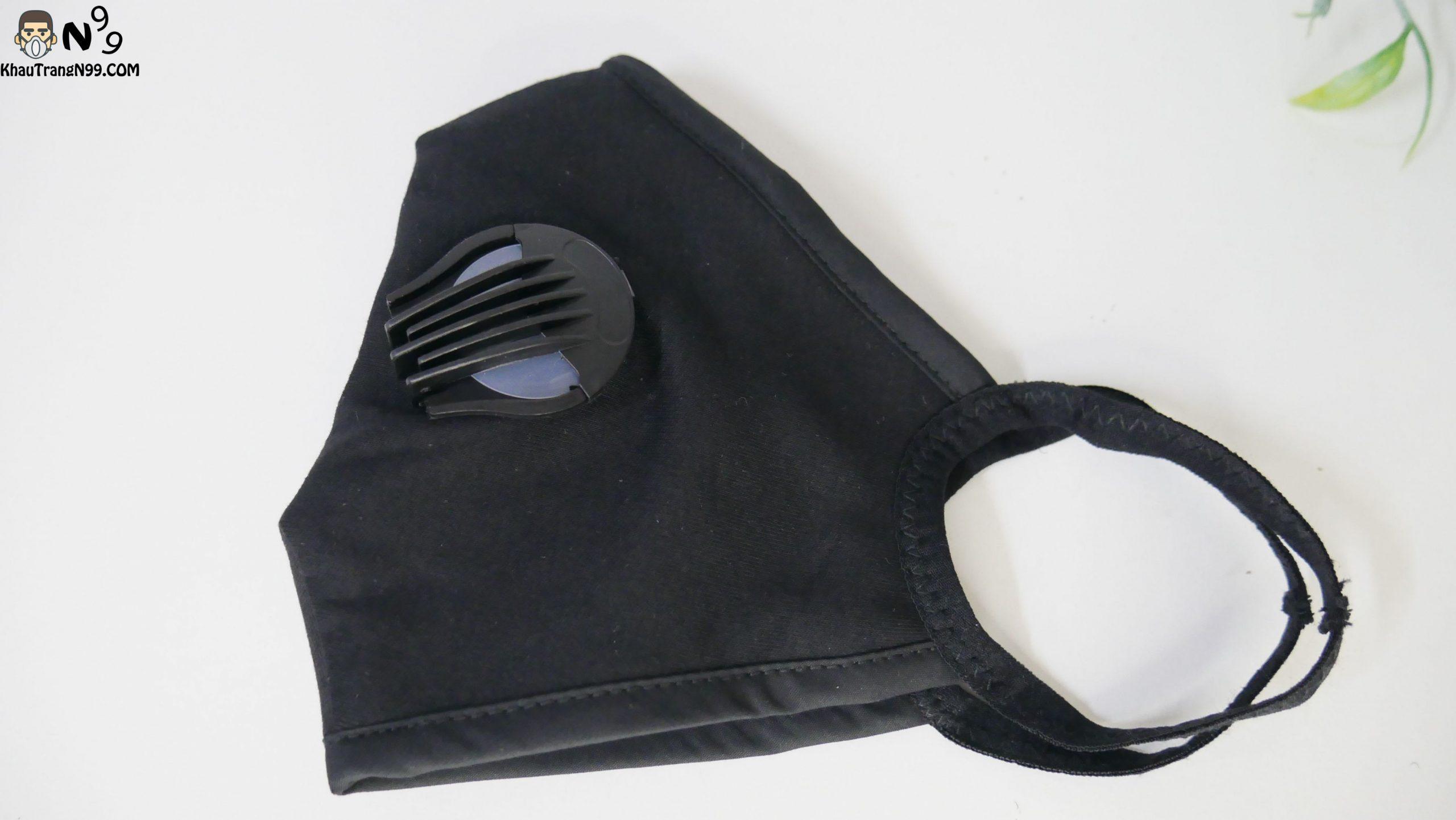 Khẩu trang vải cao cấp 2 van thở - Black (4)
