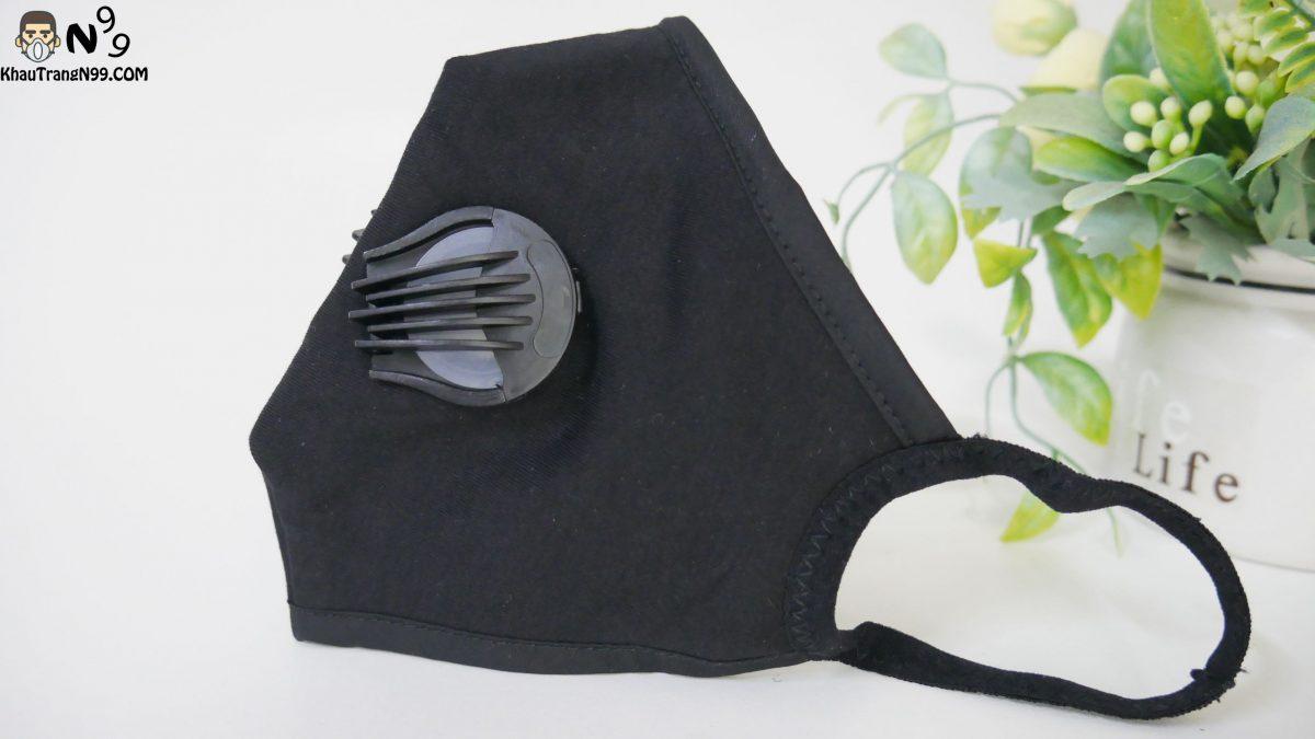 Khẩu trang vải cao cấp 2 van thở - Black (7)