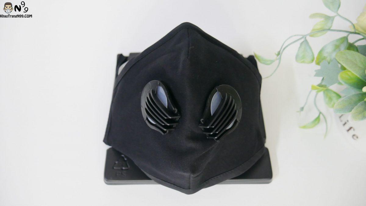 Khẩu trang vải cao cấp 2 van thở - Black (9)
